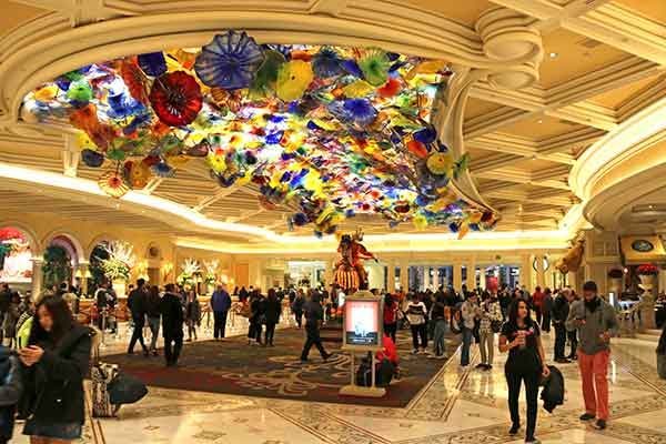 Mesmerising: Bellagio's glass ceiling sculpture on the Vegas strip